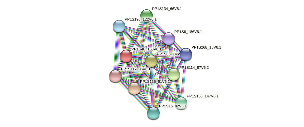 PP1S48_150V6.1 protein (Physcomitrella patens) - STRING interaction network