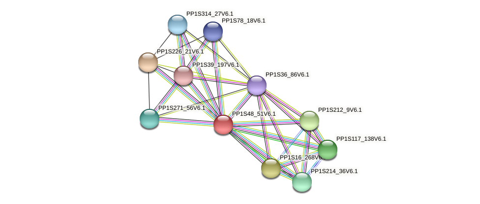 PP1S48_51V6.1 protein (Physcomitrella patens) - STRING interaction network
