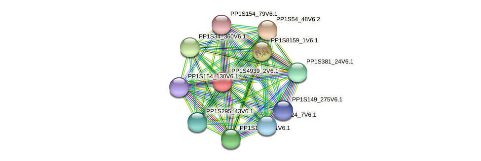 PP1S4939_2V6.1 protein (Physcomitrella patens) - STRING interaction network