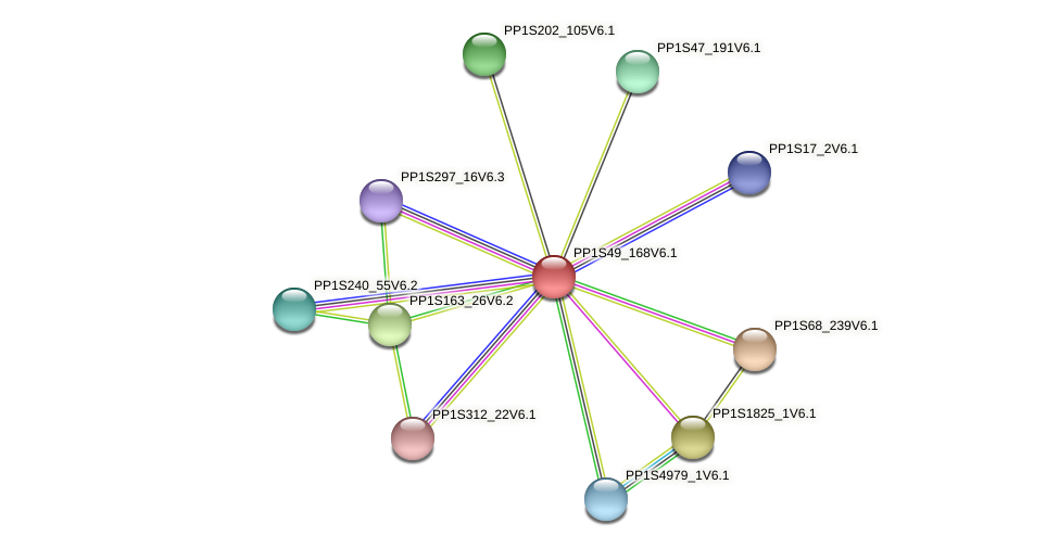 PP1S49_168V6.1 protein (Physcomitrella patens) - STRING interaction network