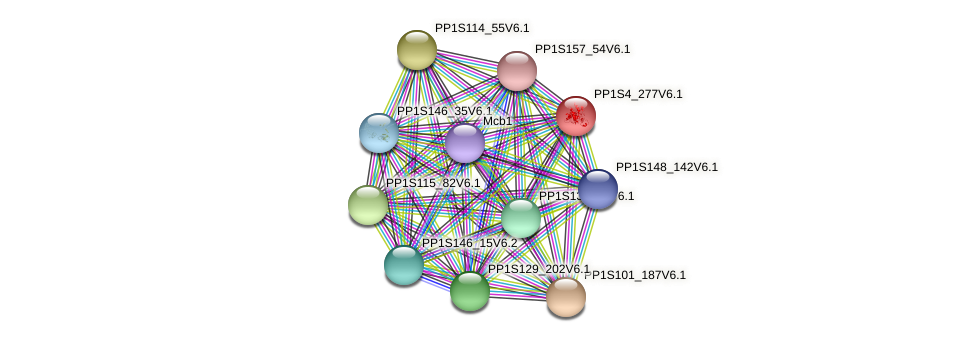 PP1S4_277V6.1 protein (Physcomitrella patens) - STRING interaction network