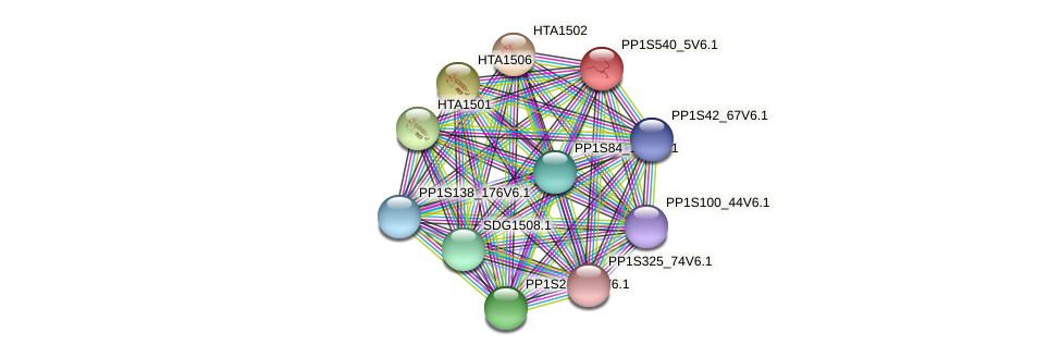 PP1S540_5V6.1 protein (Physcomitrella patens) - STRING interaction network