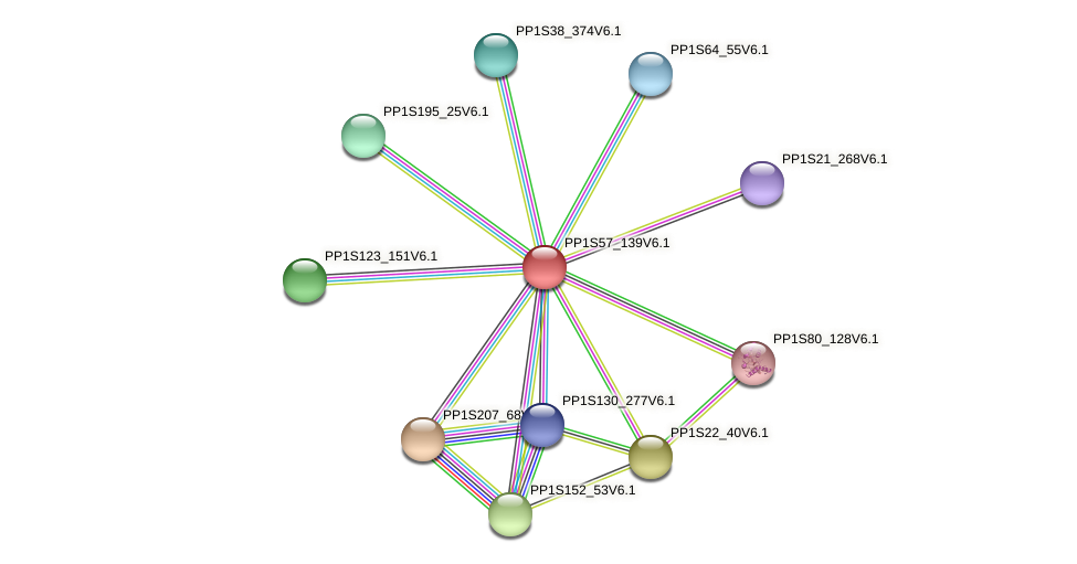 PP1S57_139V6.1 protein (Physcomitrella patens) - STRING interaction network