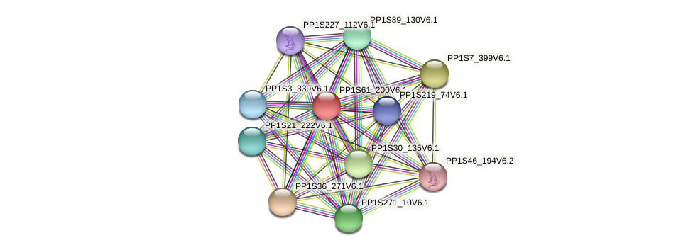 PP1S61_200V6.1 protein (Physcomitrella patens) - STRING interaction network