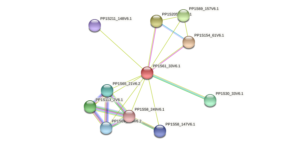PP1S61_33V6.1 protein (Physcomitrella patens) - STRING interaction network