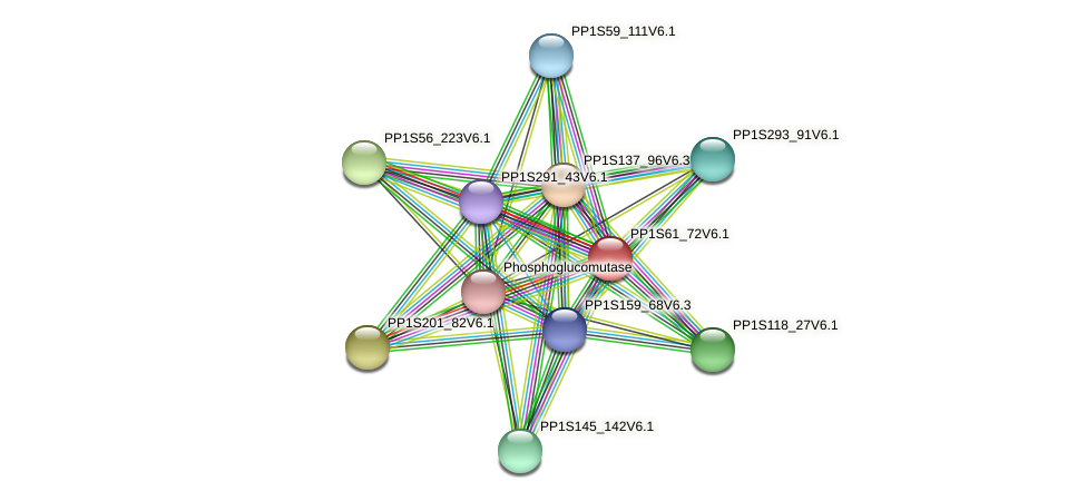 PP1S61_72V6.1 protein (Physcomitrella patens) - STRING interaction network