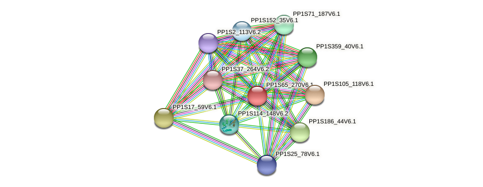 PP1S65_270V6.1 protein (Physcomitrella patens) - STRING interaction network
