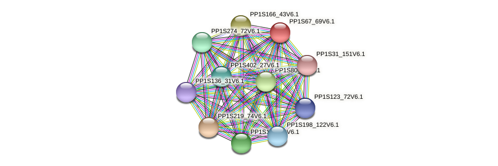 PP1S67_69V6.1 protein (Physcomitrella patens) - STRING interaction network