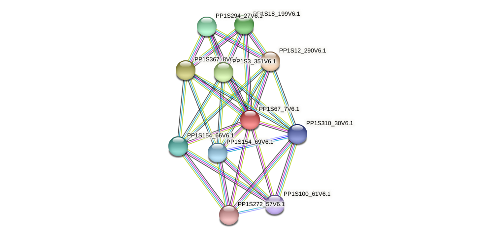 PP1S67_7V6.1 protein (Physcomitrella patens) - STRING interaction network