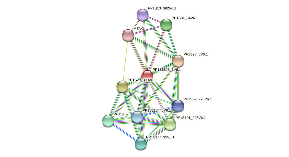 PP1S6823_1V6.1 protein (Physcomitrella patens) - STRING interaction network