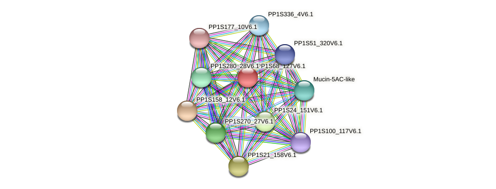 PP1S68_127V6.1 protein (Physcomitrella patens) - STRING interaction network
