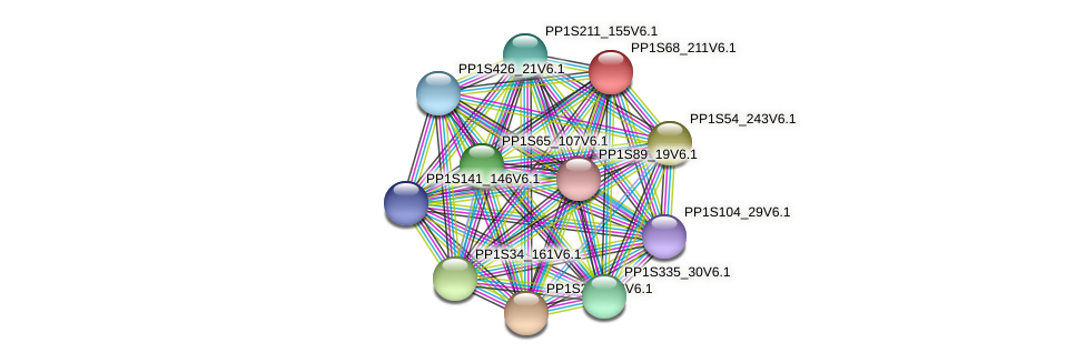 PP1S68_211V6.1 protein (Physcomitrella patens) - STRING interaction network