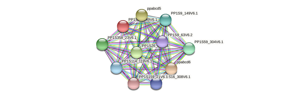 PP1S68_249V6.1 protein (Physcomitrella patens) - STRING interaction network