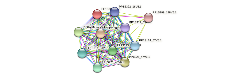 PP1S68_6V6.1 protein (Physcomitrella patens) - STRING interaction network