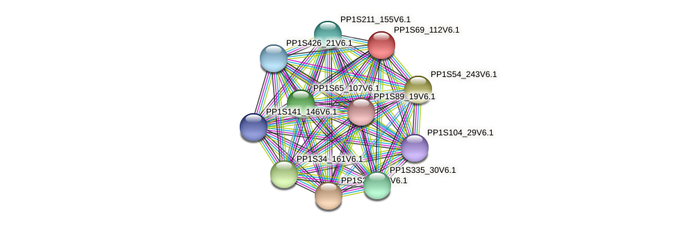 PP1S69_112V6.1 protein (Physcomitrella patens) - STRING interaction network