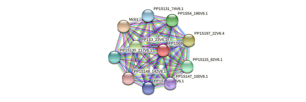 PP1S69_9V6.1 protein (Physcomitrella patens) - STRING interaction network