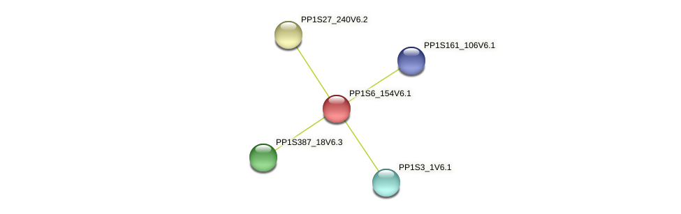 PP1S6_154V6.1 protein (Physcomitrella patens) - STRING interaction network