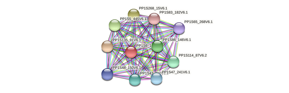 PP1S6_186V6.1 protein (Physcomitrella patens) - STRING interaction network