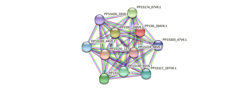 PP1S6_294V6.1 protein (Physcomitrella patens) - STRING interaction network