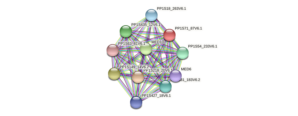 PP1S71_87V6.1 protein (Physcomitrella patens) - STRING interaction network