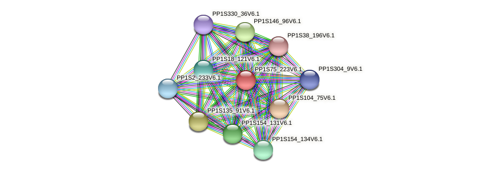 PP1S75_223V6.1 protein (Physcomitrella patens) - STRING interaction network