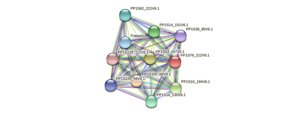 PP1S76_212V6.1 protein (Physcomitrella patens) - STRING interaction network