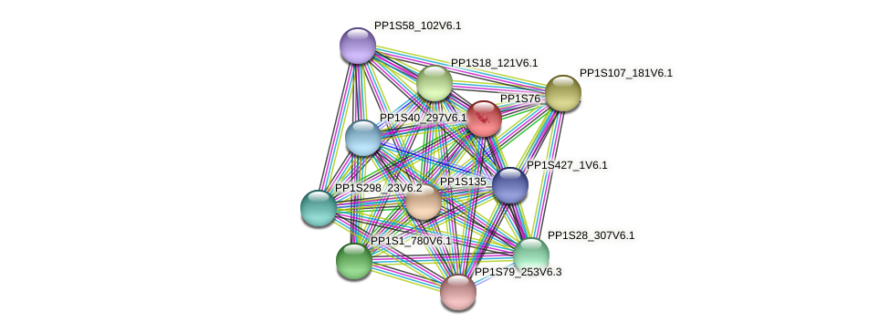 PP1S76_74V6.1 protein (Physcomitrella patens) - STRING interaction network