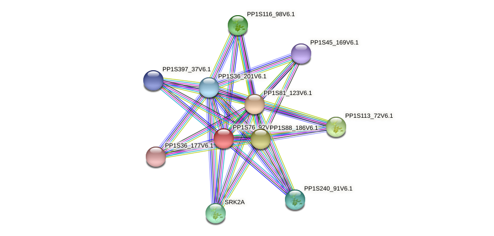 PP1S76_92V6.1 protein (Physcomitrella patens) - STRING interaction network
