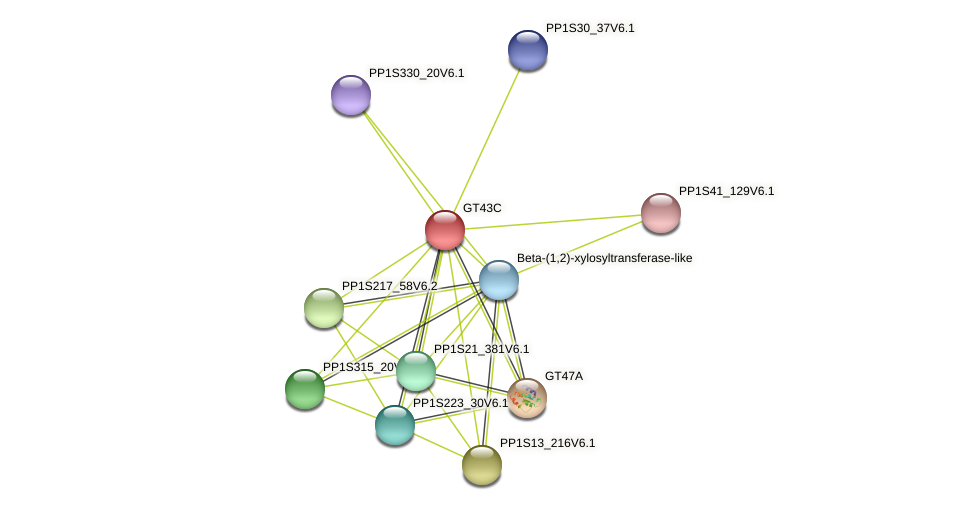 PP1S78_128V6.1 protein (Physcomitrella patens) - STRING interaction network
