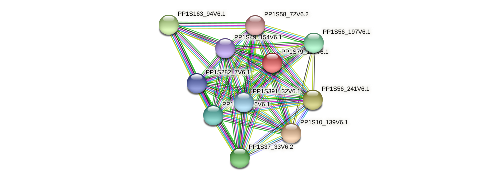 PP1S79_110V6.1 protein (Physcomitrella patens) - STRING interaction network