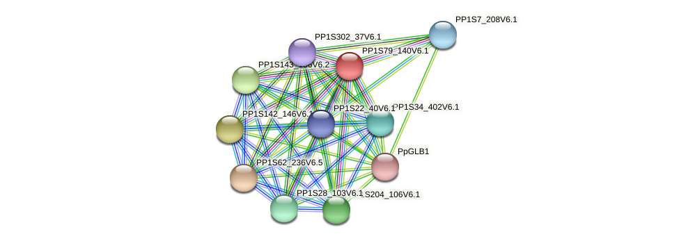 PP1S79_140V6.1 protein (Physcomitrella patens) - STRING interaction network