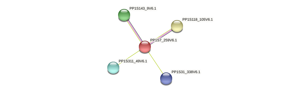 PP1S7_259V6.1 protein (Physcomitrella patens) - STRING interaction network