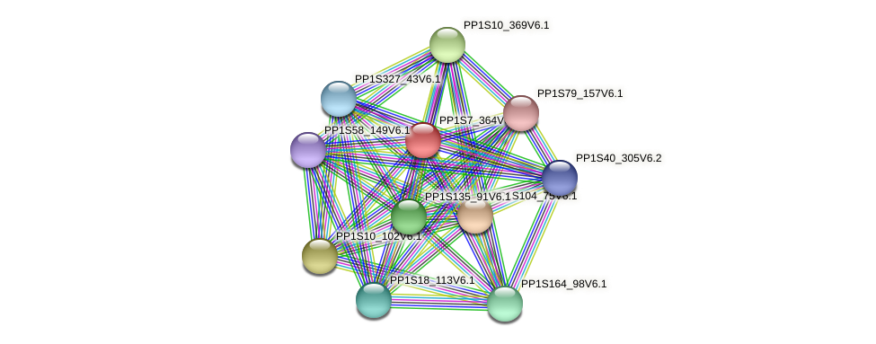 PP1S7_364V6.1 protein (Physcomitrella patens) - STRING interaction network