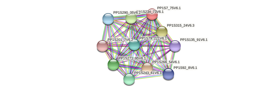 PP1S7_75V6.1 protein (Physcomitrella patens) - STRING interaction network