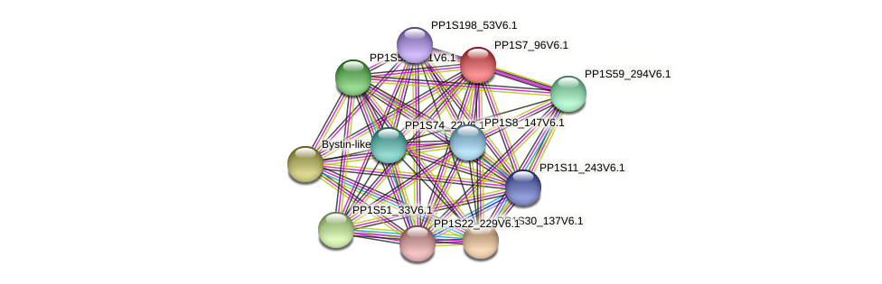 PP1S7_96V6.1 protein (Physcomitrella patens) - STRING interaction network