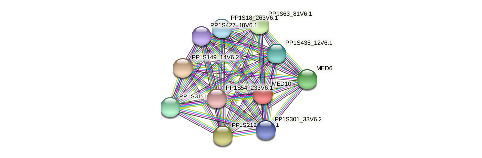 PP1S80_154V6.1 protein (Physcomitrella patens) - STRING interaction network