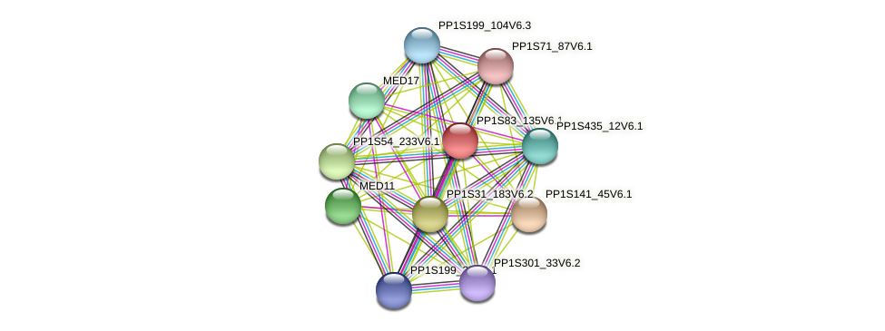 PP1S83_135V6.1 protein (Physcomitrella patens) - STRING interaction network