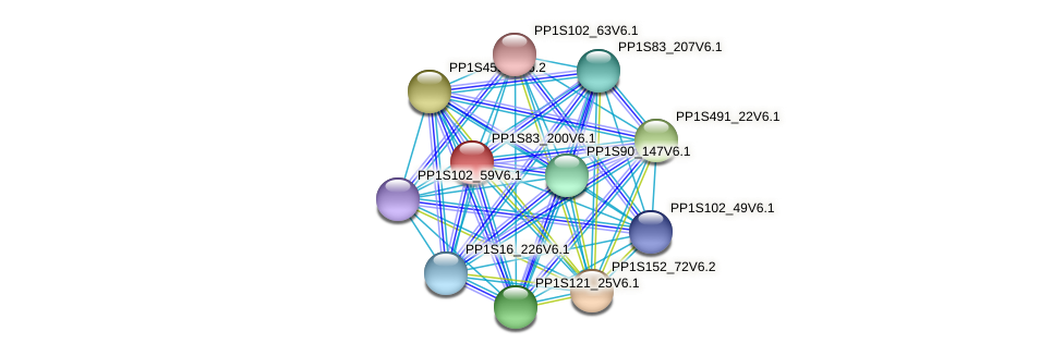 PP1S83_200V6.1 protein (Physcomitrella patens) - STRING interaction network