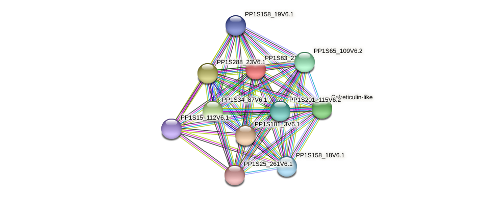 PP1S83_211V6.3 protein (Physcomitrella patens) - STRING interaction network