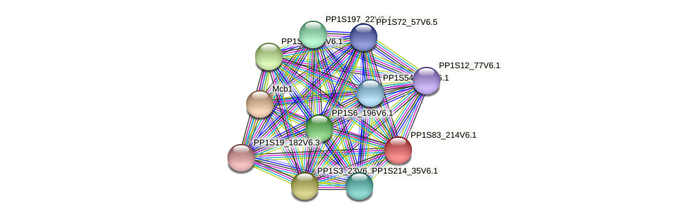 PP1S83_214V6.1 protein (Physcomitrella patens) - STRING interaction network
