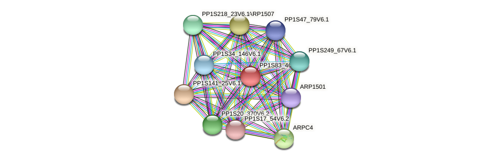 PP1S83_46V6.1 protein (Physcomitrella patens) - STRING interaction network