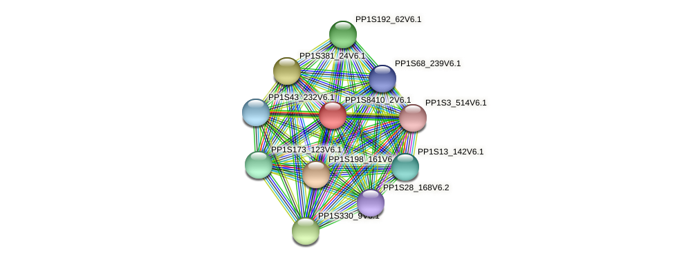 PP1S8410_2V6.1 protein (Physcomitrella patens) - STRING interaction network