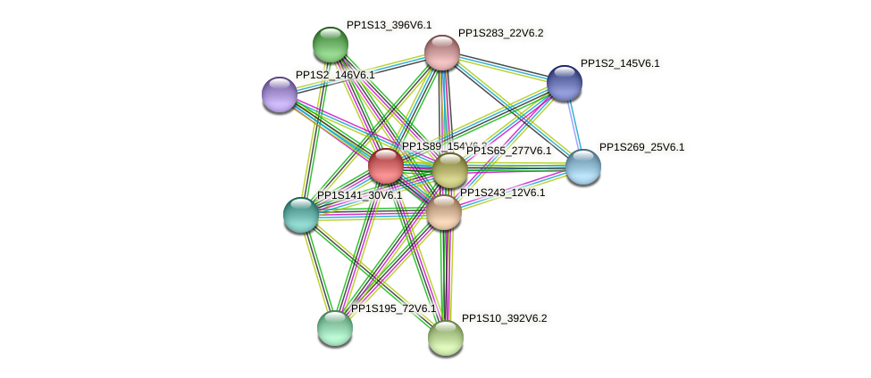PP1S89_154V6.1 protein (Physcomitrella patens) - STRING interaction network
