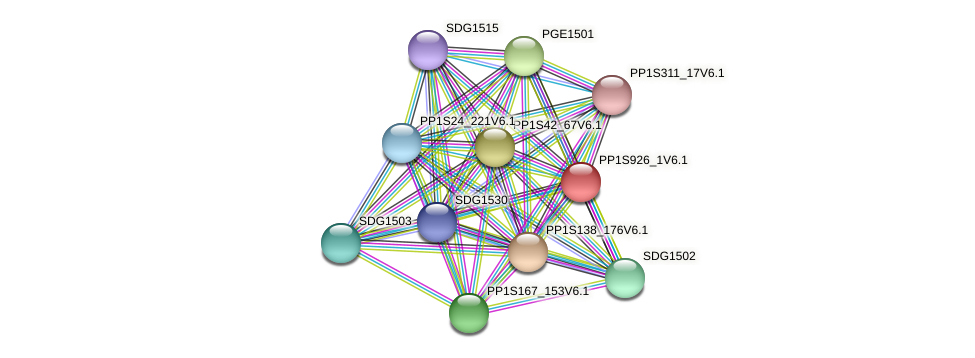 PP1S926_1V6.1 protein (Physcomitrella patens) - STRING interaction network