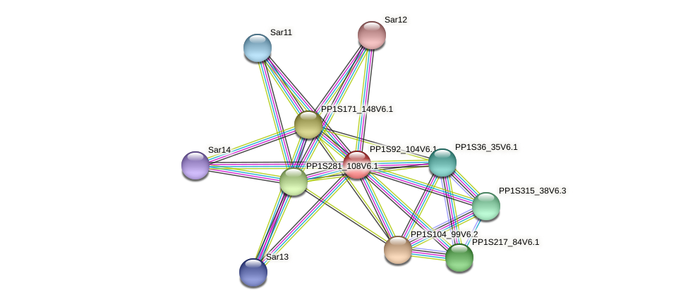 PP1S92_104V6.1 protein (Physcomitrella patens) - STRING interaction network