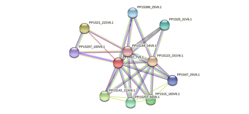 PP1S92_7V6.1 protein (Physcomitrella patens) - STRING interaction network