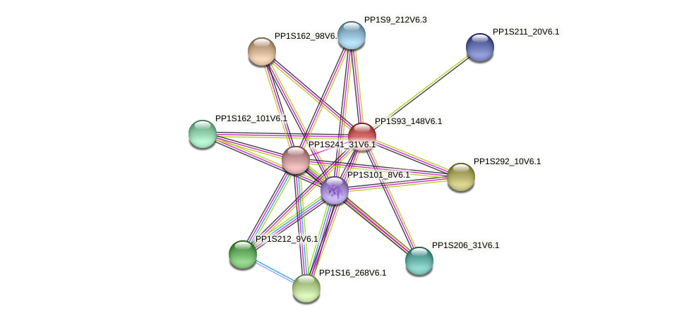 PP1S93_148V6.1 protein (Physcomitrella patens) - STRING interaction network
