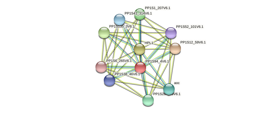 PP1S94_4V6.1 protein (Physcomitrella patens) - STRING interaction network