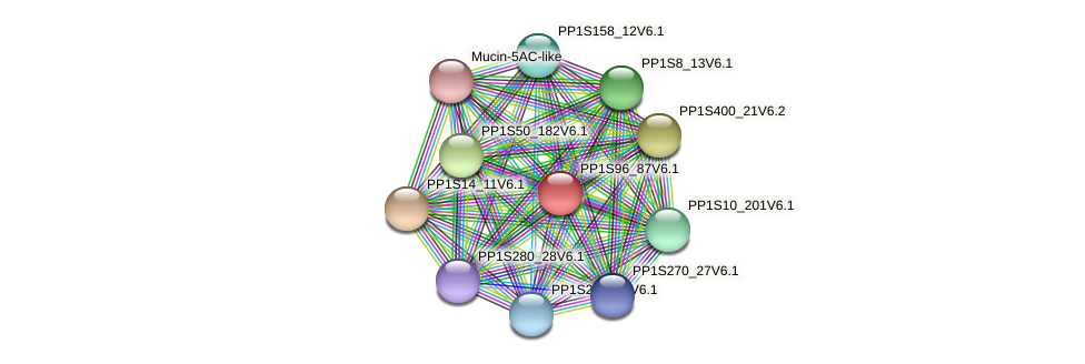 PP1S96_87V6.1 protein (Physcomitrella patens) - STRING interaction network