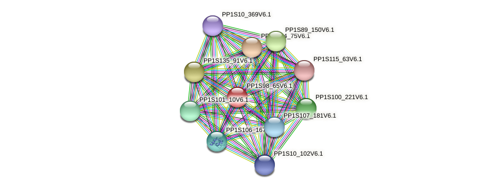 PP1S98_65V6.1 protein (Physcomitrella patens) - STRING interaction network